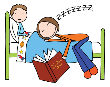 stories: Illustration of mother felt asleep while reading bedtime story to her son
