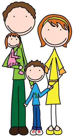 four hands: Smiling family of four holding together Illustration