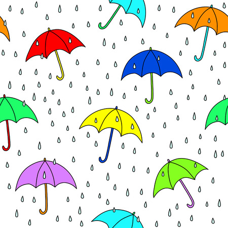 rainy day: Seamless umbrella and raindrops pattern. Simply drop swatch into swatch palette to create the fill. Illustration