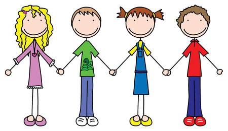 four hands: Illustration of four kids holding hands