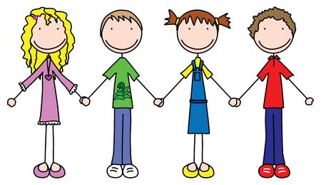Ilustración de cuatro niños tomados de la mano
