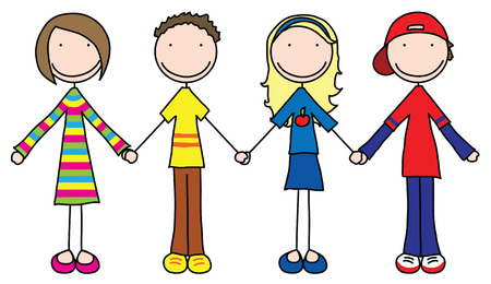 holds: Illustration of four kids holding hands