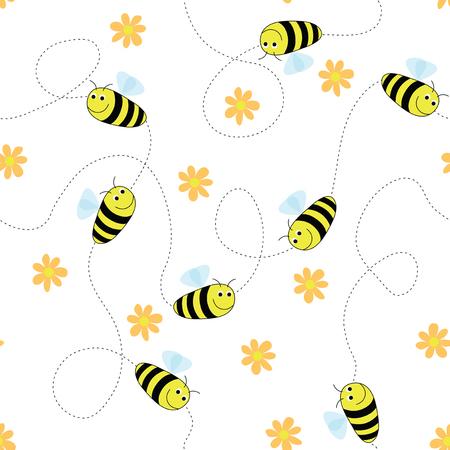 Seamless abeilles et les fleurs motif. Laisser tomber simplement dans la palette swatch swatch pour cr�er le remplissage. Illustration