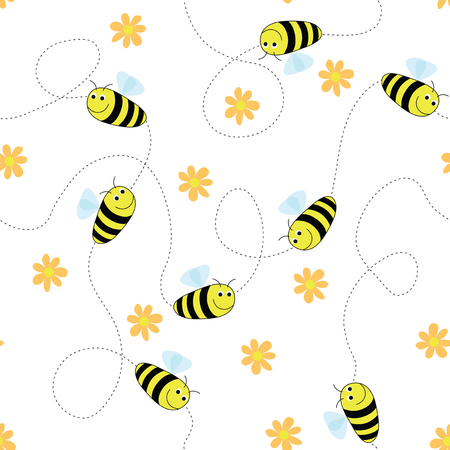 Seamless bees and flowers pattern. Simply drop swatch into swatch palette to create the fill.