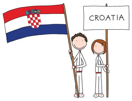 Illustration d'un gar�on et une fille exploitation drapeau croate et le titre