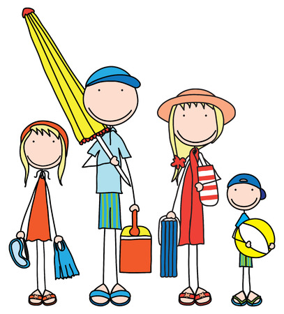 Illustration of smiling family of four prepared for the beach