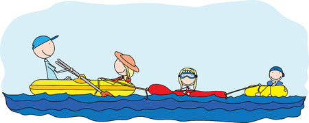 Illustration of happy family of four having fun at sea