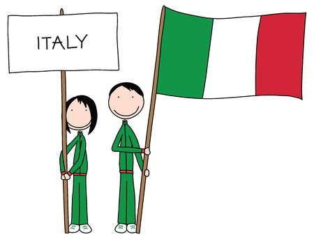 Illustration of a boy and girl holding Italian flag and title Illustration