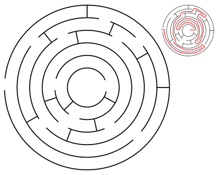 Round maze with solution