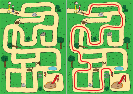 Easy park maze for kids with solution Vector