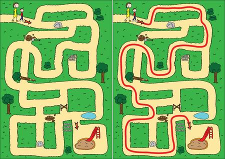 doolhof: Gemakkelijk parkeren doolhof voor kinderen met een oplossing Stock Illustratie