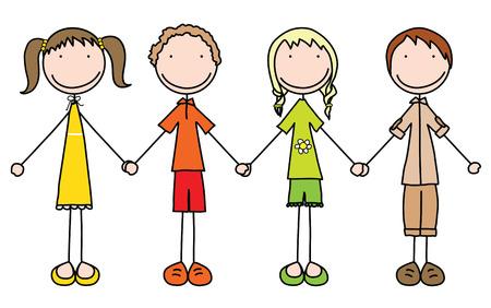 Illustratie van vier kinderen hand in hand in de zomer kleding