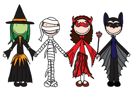 Kids holding hands in Halloween costumes  Illustration