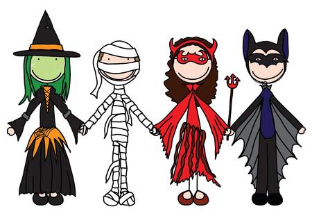 brujas caricatura: Ni�os sosteniendo las manos en disfraces de Halloween