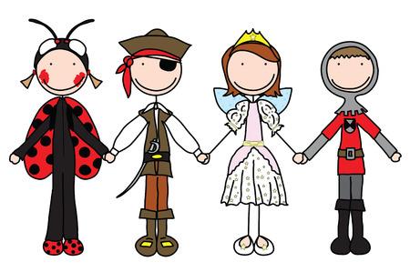 Kids holding hands in Halloween costumes Vector