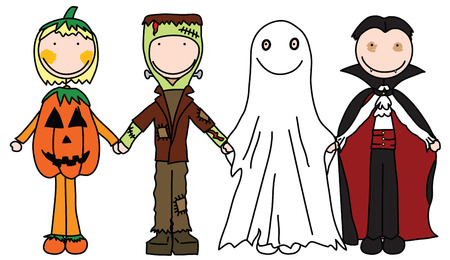 costumes: Kids holding hands in Halloween costumes