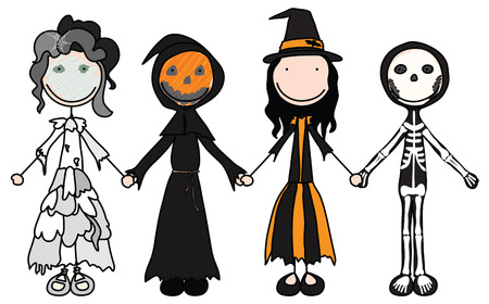 Kids holding hands in Halloween costumes