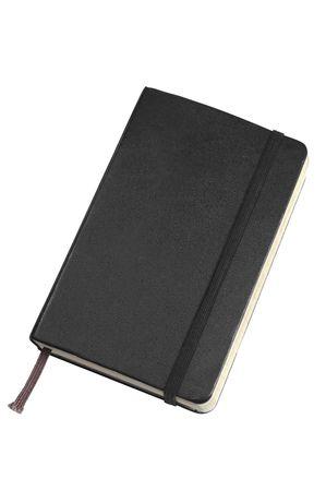 Black pocket sized journal on white