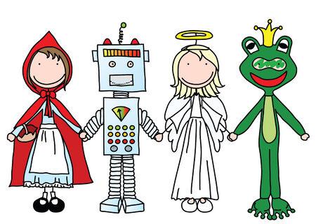 Enfants tenant les mains dans les costumes d'Halloween (qui fait partie d'une s�rie)