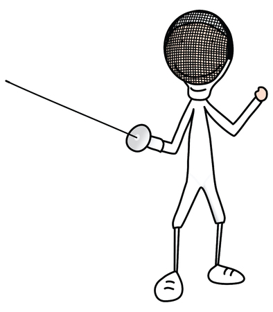 cartoon illustration of boy or a girl in a fencing clothing