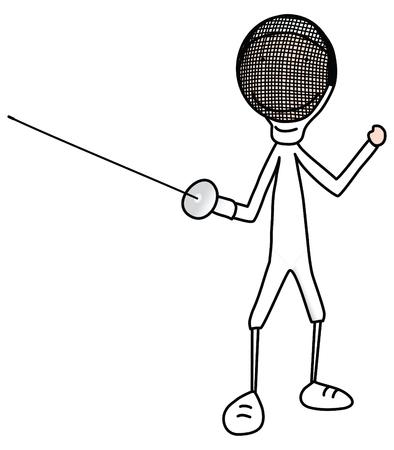 esgrima: Ilustraci�n de dibujos animados de ni�o o una ni�a en un vestido de Esgrima  Vectores