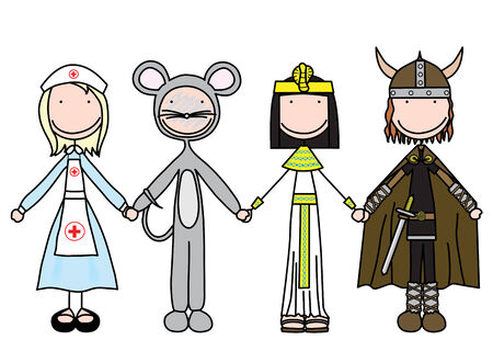 illustration of four kids holding hands in costumes Vector
