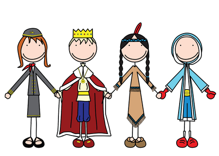 four hands: illustration of four kids holding hands in costumes