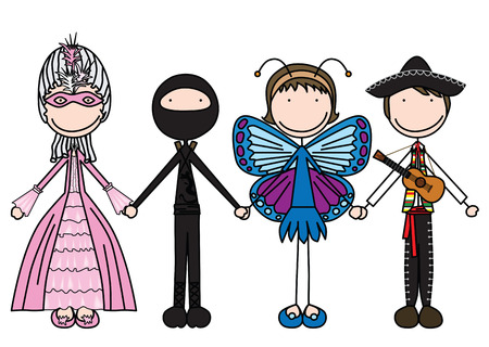 four friends: illustration of four kids holding hands in costumes