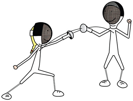 fencing sword: girl and boy fencing Illustration