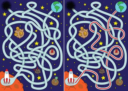Labyrinthe de l'espace pour les enfants avec une solution