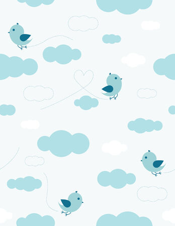 Blue birds and clouds seamless pattern for kids