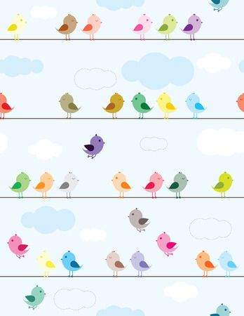 Colorful birds sitting on wires seamless pattern for kids Vector