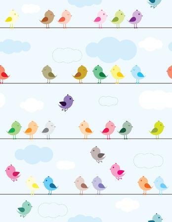 Oiseaux color�s, assis sur le mod�le sans soudure de fils pour les enfants Illustration