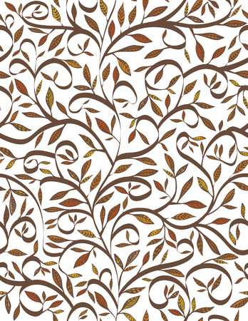 Brown leaves and branches seamless pattern