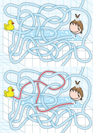 Easy bathroom maze for kids with solution Vector