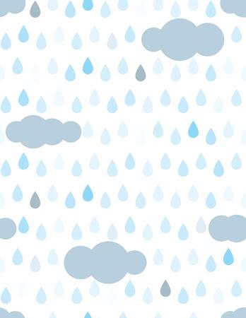 Patron seamless gouttes et nuages de pluie