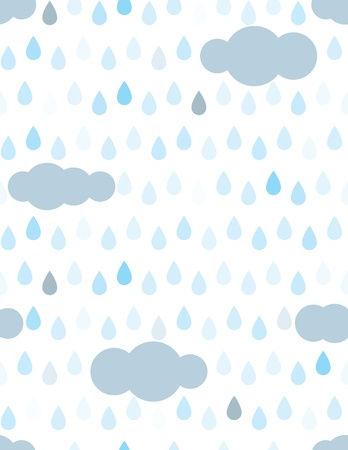 rain cartoon: Rain drops and clouds seamless pattern