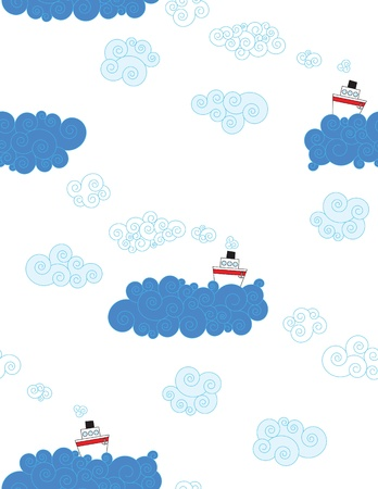 Ships on the sea seamless pattern for kids Illustration