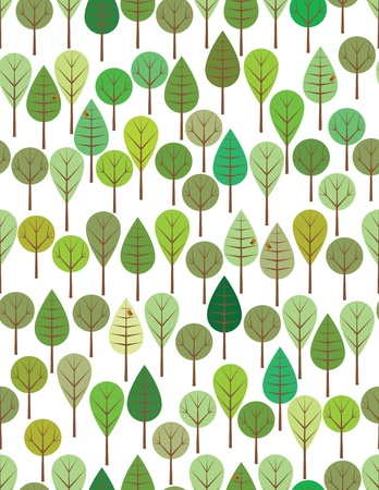 cute tree: Green woods seamless pattern for kids  Illustration