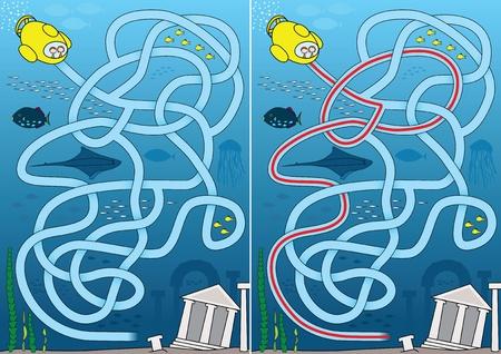 Labyrinthe de ville pour les enfants avec une solution a perdu Illustration