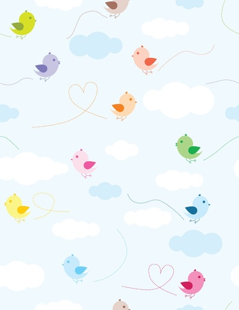 seamless sky: Colorful birds and clouds seamless pattern for kids