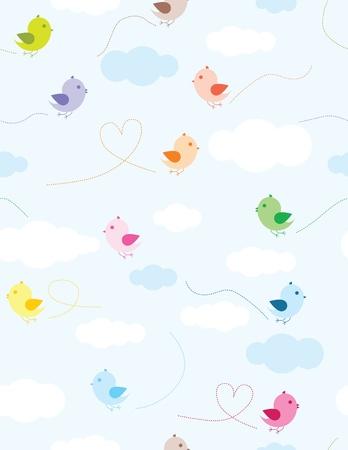 Pattern seamless color� les oiseaux et les nuages pour les enfants
