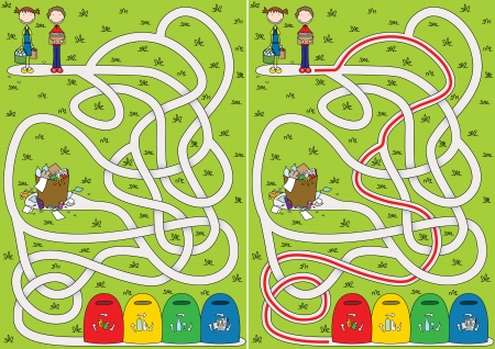 Recycling maze for kids with a solution Vector