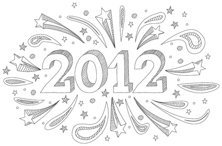 Happy New Year 2012 doodle  Illustration