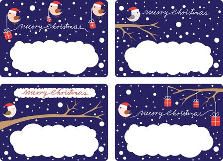 Four illustrated gift tags with birds and presents Stock Vector - 11570946