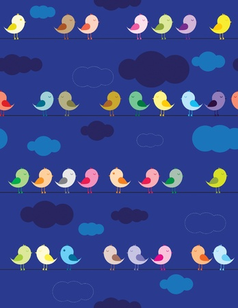 Colorful birds sitting on wires in the night seamless pattern for kids Stock Vector - 12356562