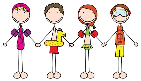 Illustration of four kids holding hands in bathing suits Stock Vector - 12356559