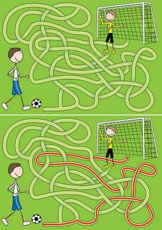 Football maze for kids with a solution Vector