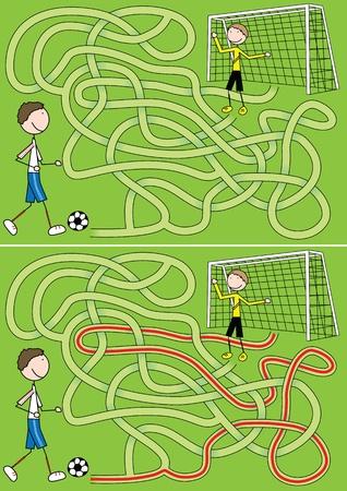 Labyrinthe de football pour les enfants avec une solution Illustration