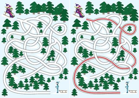 doolhof: Winter doolhof voor kinderen met een oplossing